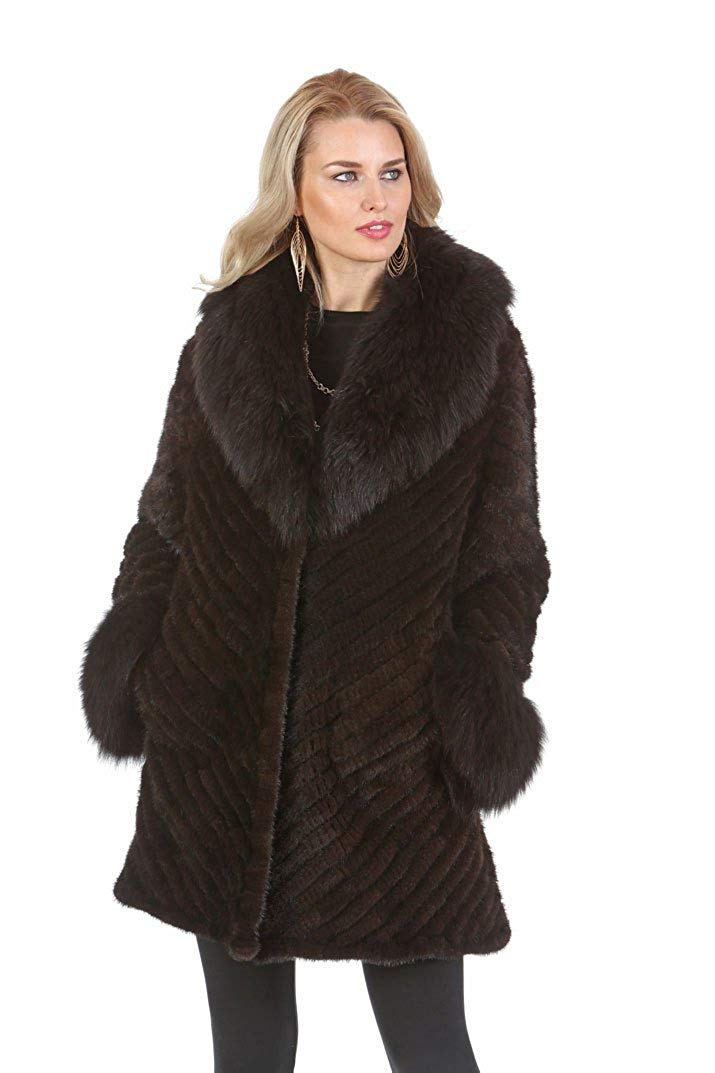 Get Quotations · Madison Avenue Mall Knitted Mink Fur Jacket Coat For Women  Mahogany Mink Fox Collar 6076139fc999
