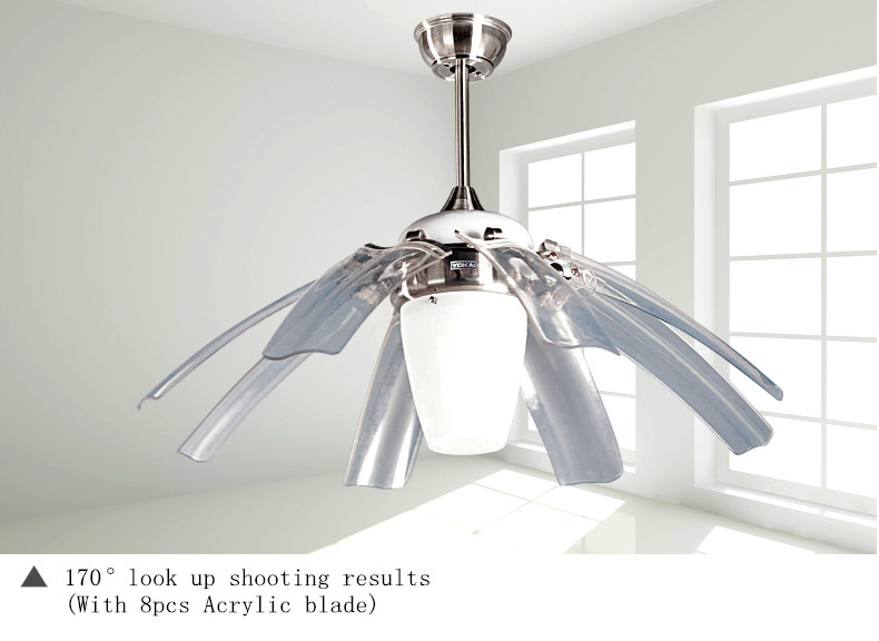 Eight blades two light 70w ac motor flying hidden blade ceiling fan with remote control