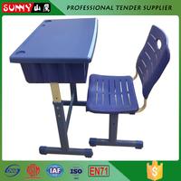 adjustable plastic desktop metal frame school furniture desk and chair