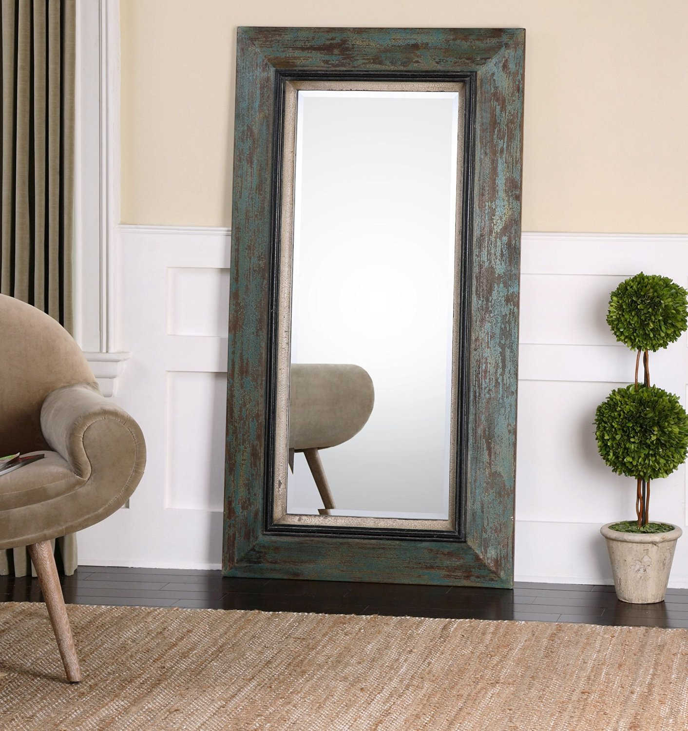 Oversize Distressed Teal Wood Mirror Wall Floor Or Leaner