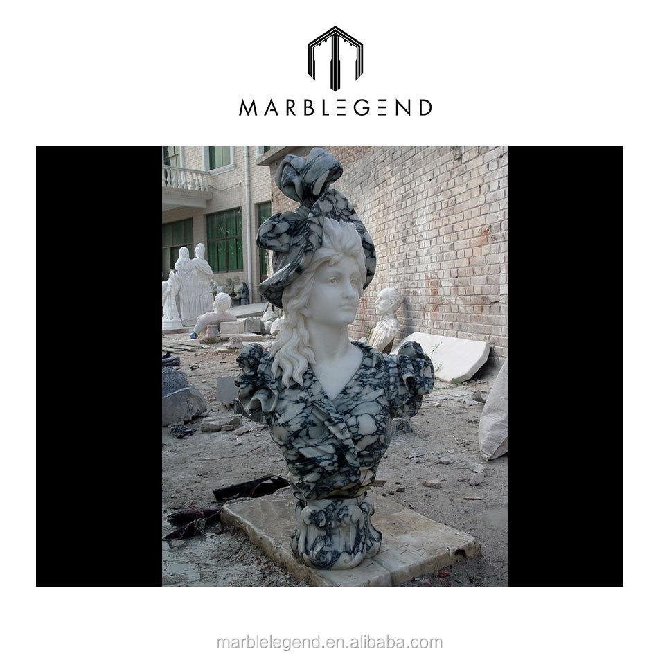 Handcarved umani busto scultura di pietra di marmo