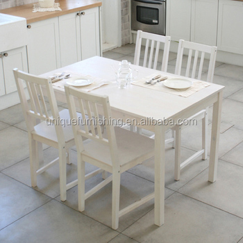 White Solid Pine Wood Dining Table And Chair For Dining Room ...