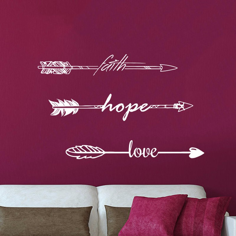 Wall Sticker Quotes Faith Hope Love Arrow Quote Vinyl Sticker Decal Art <font><b>Home</b></font> <font><b>Decor</b></font> Feather Arrows <font><b>Hipster</b></font> Bohemian Bedroom