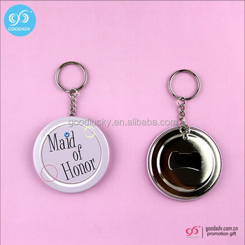 Promotional gift round openers key rings custom printed bottle opener keychain