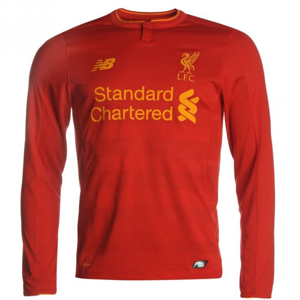 New Balance Liverpool FC 2016/17 Long Sleeve Home Jersey - Adult - Red -