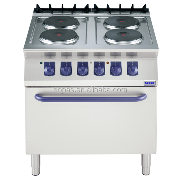Soppas Restaurant Cooking Equipment 700 Series Commercial Electric Range And Oven 4 Round Hot Plate
