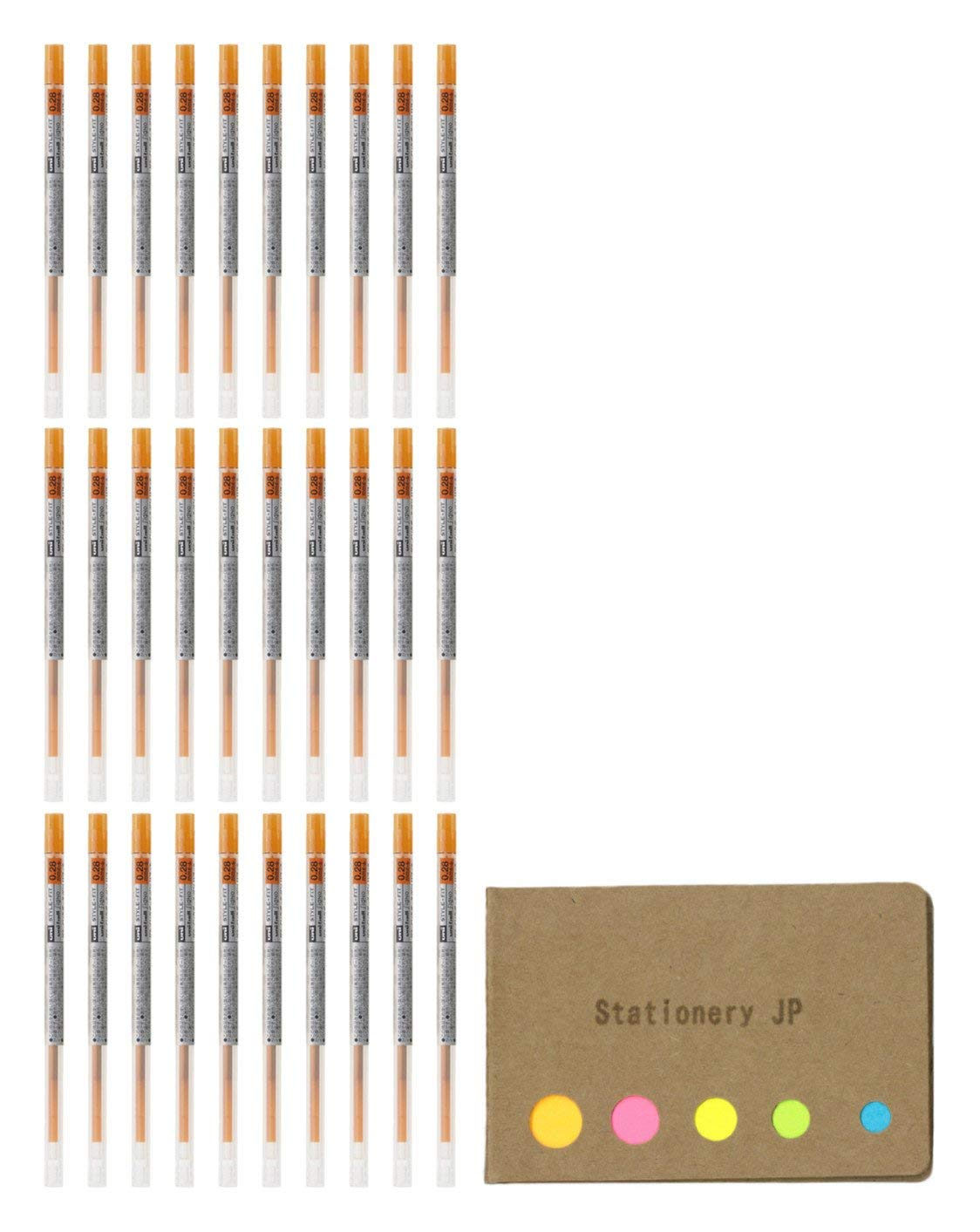 Uni-ball Signo Gel Ink Refills for Uni Style Fit Gel Multi Pen 0.28mm Orange Ink, 30-pack, Sticky Notes Value Set