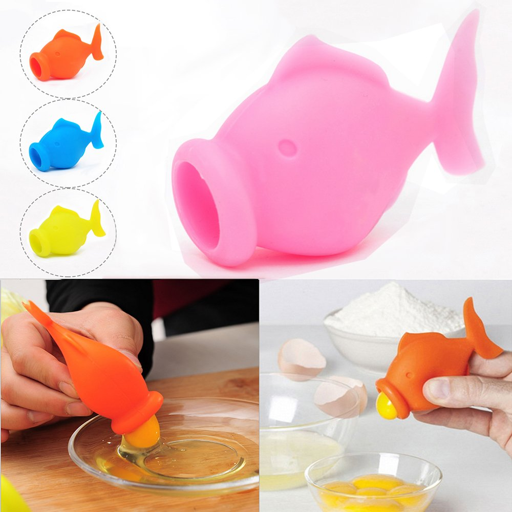 Egg Separators, Silicone Yolk Separator, Yolk Extractor Divider Divide Egg White and Yolk with Cute Fish Appearance, Egg Best Kitchen Small Gadget (Pink)