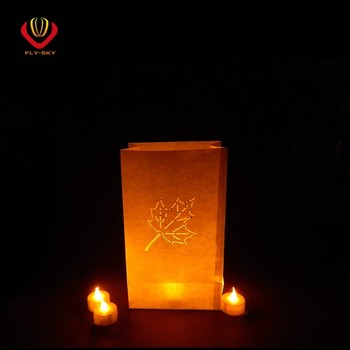 Fire Resistant Maple Leaf Candle Bag For Wedding Decoration White Color