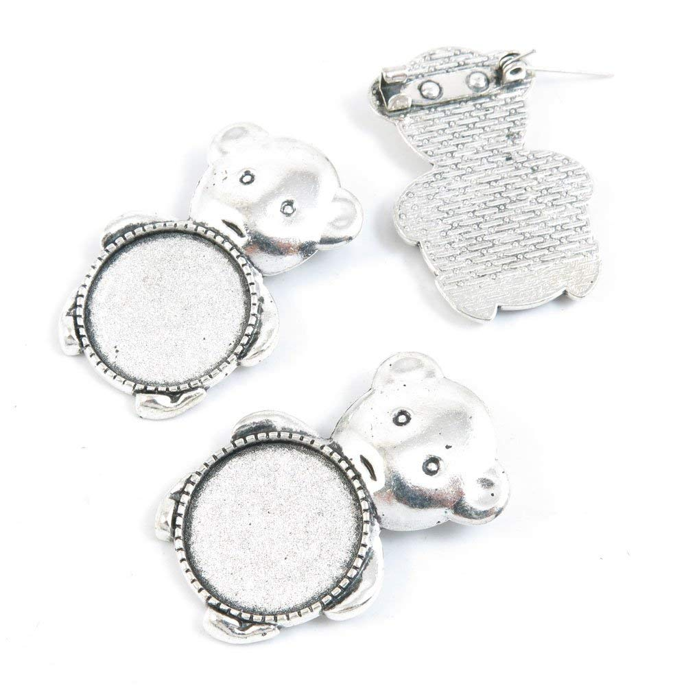 Price per 10 Pieces Jewelry Making Charms Supply N6GE3 Pinback Brooch Bear Cabochon Setting Blank