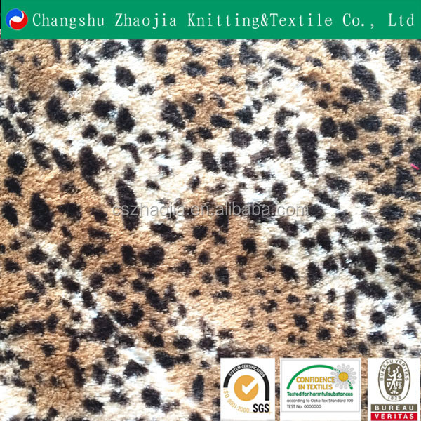 shanghai knitting supplier wholesale 100 polyester long pile fake fur leopard from China Factory