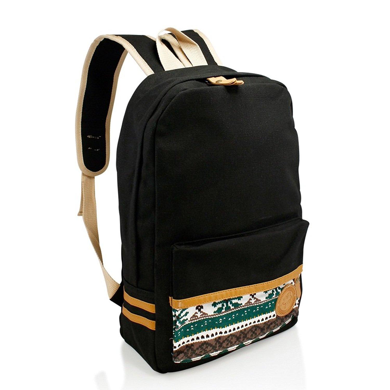 Girls Chic Black Tribal Backpack Kids Aztec Themed White Tan Trim Carry On 66f396584dd49