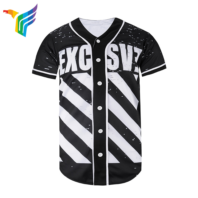 China Fabrikant Custom Mode Leeg Sublimatie Afdrukken Baseball Jersey