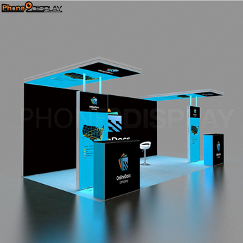 Eye Catching Stable Quick Setup 10x20 Backlit Trade Show Display Exhibition Booth Stand with lights