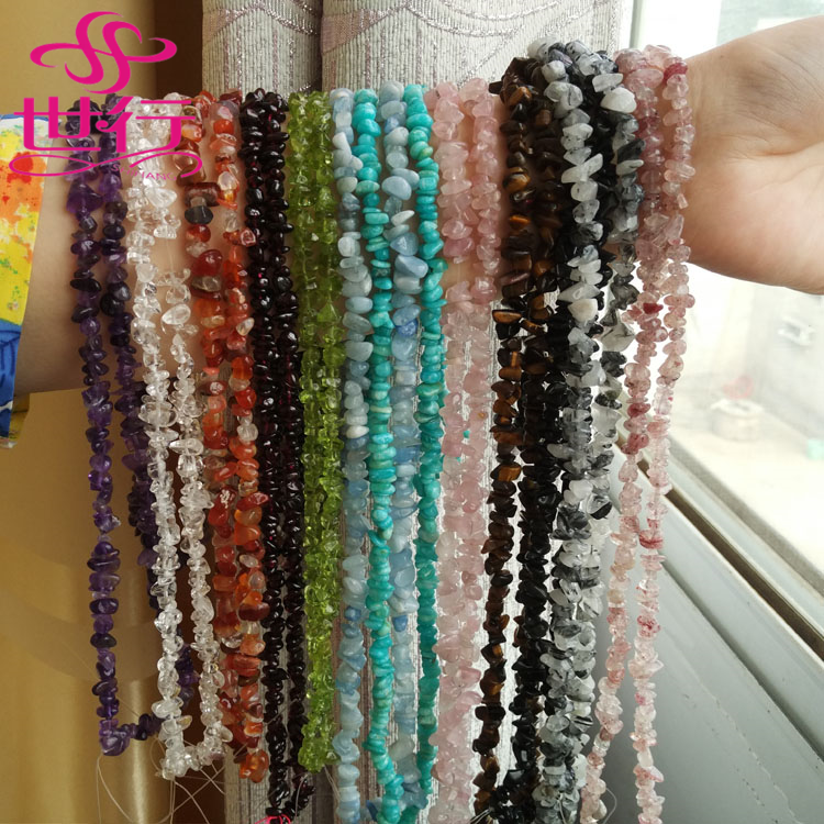 Chinese supplier wholesale DIY natural stone tumbled stone crystal beads with hole
