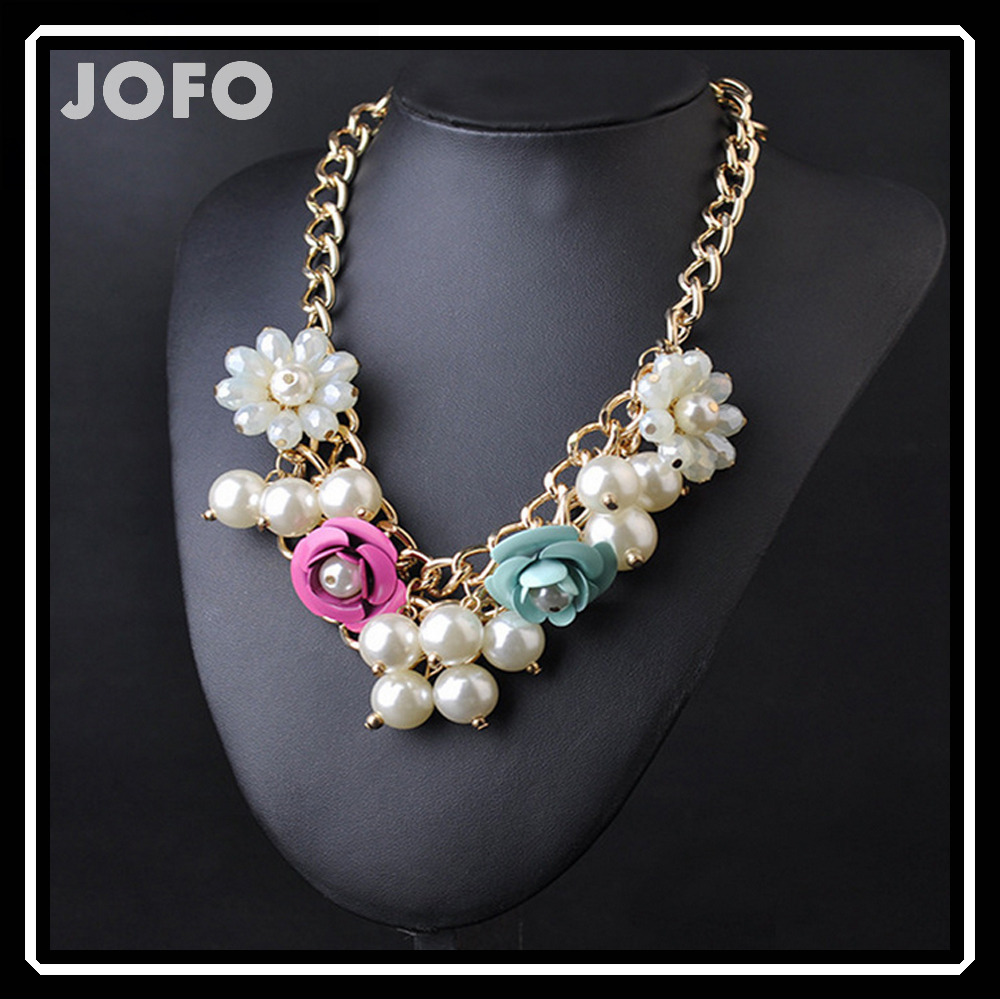 Fashionable Flower Pearl Chain Necklace Chunky Women Costume Jewelry