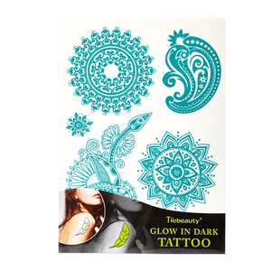 glitter sticker glow in the dark body tattoo sticker ink temporary custom body art watertransfer transparent reusable sticker