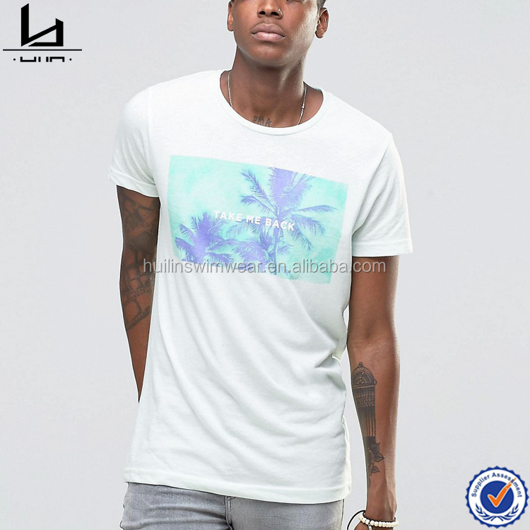 Mens white 70% polyester 30% cotton t-shirt chest print design men t-shirt