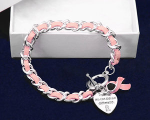 High Quality Pink Leather Enamel Ribbon Pendant Breast Cancer Awareness Bracelet