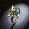 New Design 18K Gold Bee Animal Jewelry Green Diamond Design Women Party Finger Rings