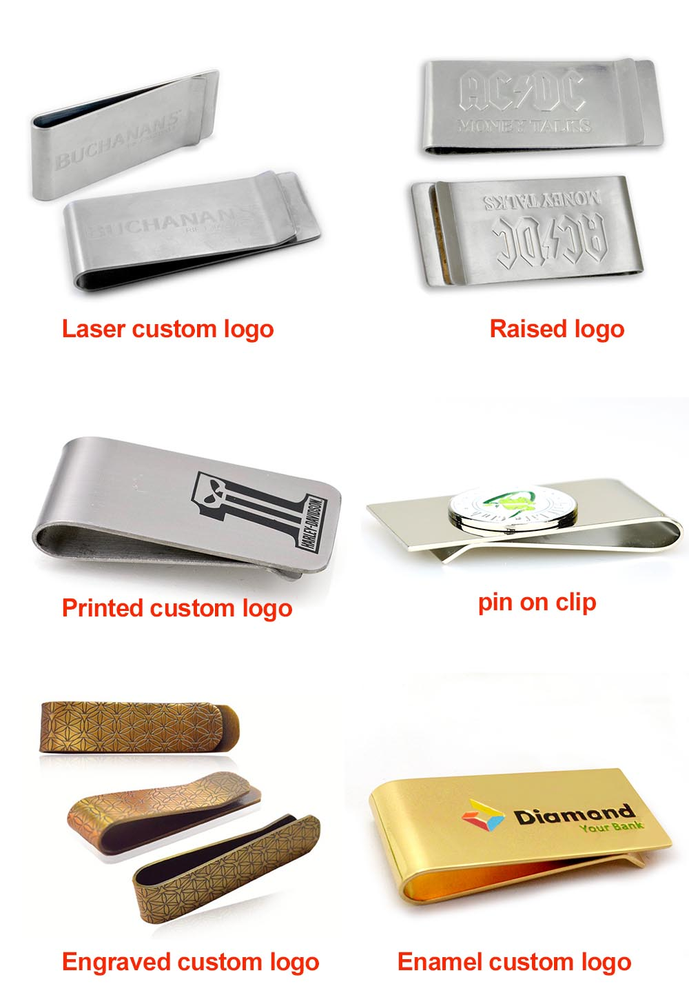 Custom Logo Clips Metal Buckle Small Metal Flat Paper Clip