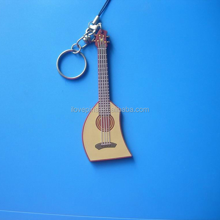 Promotion metal keychains, musican guitar shaped keyrings