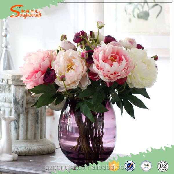Wholesale Fake Cheap Plastic Artificial Peony Silk Flowers for Decoration