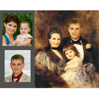 High quality custom hand made oil painting family picture portraits from photo