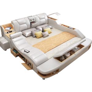 Fashion design Modern multifunctional bed with storage music massage bed bedroom furniture bed general use set furniture