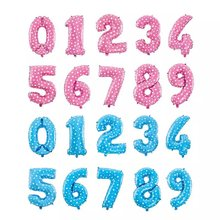 Wholesale 16 inch number foil balloon 0-9 blue and pink color available for birthday party or wedding