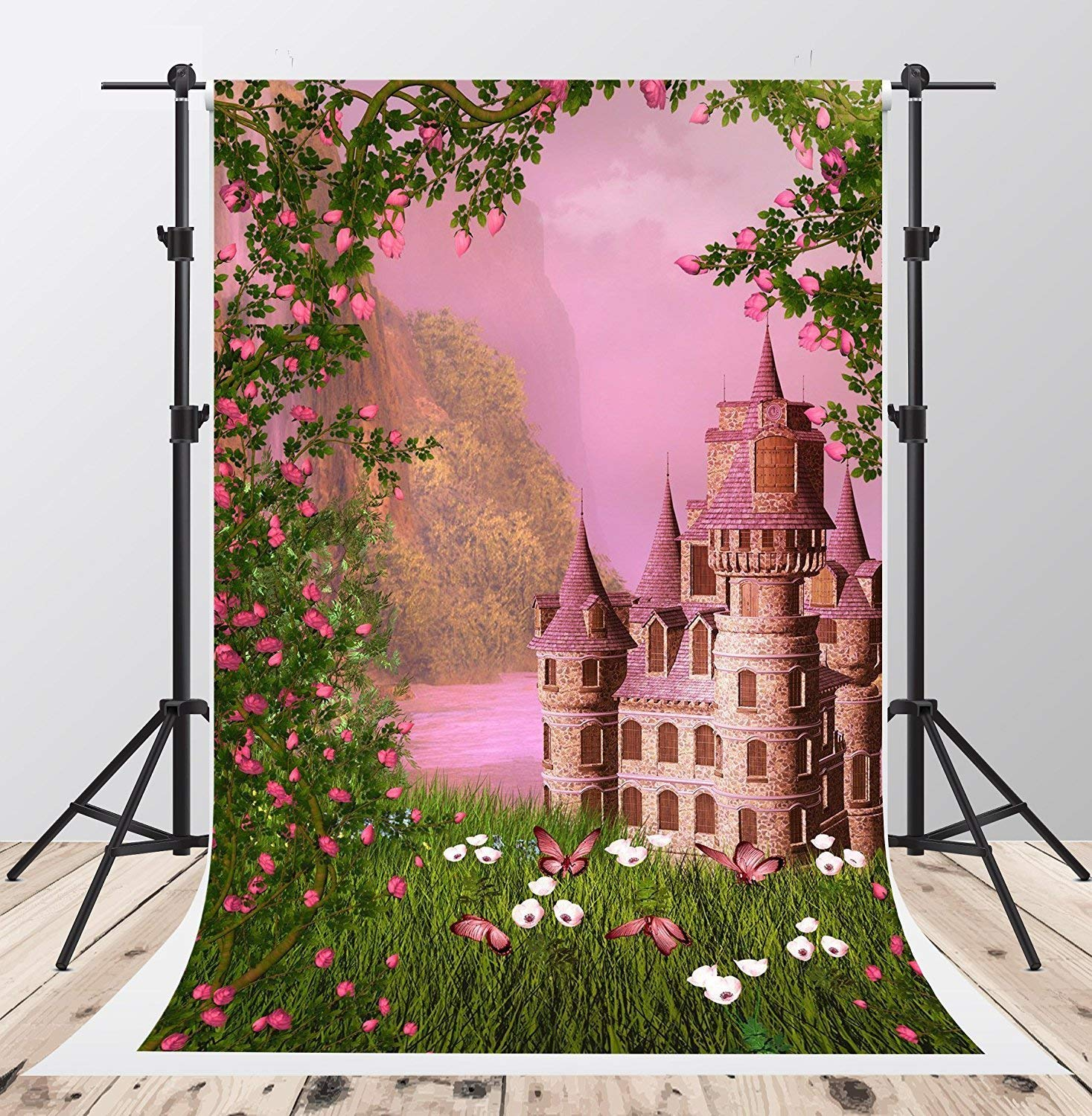 Kate 5x7ft Pink Photography Backgrounds 5x7ft Green Grass Scenic Photo Backdrop White Flowers Studio Castle Backgrounds