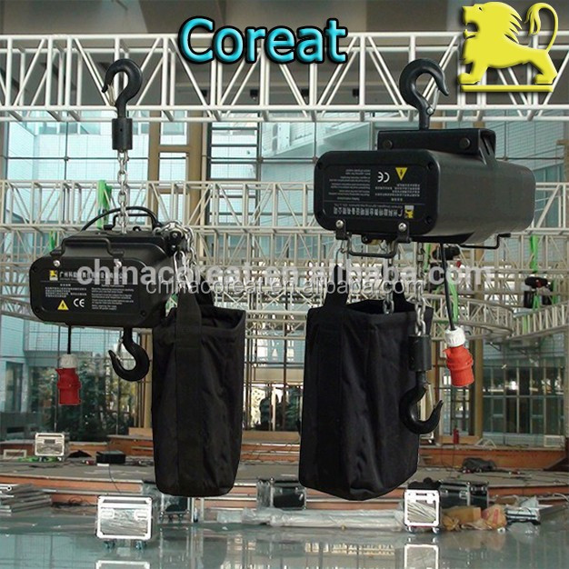 CE Certification 220V 380V 415V 1000kg Aluminum Alloy Stage Electric Chain Hoist