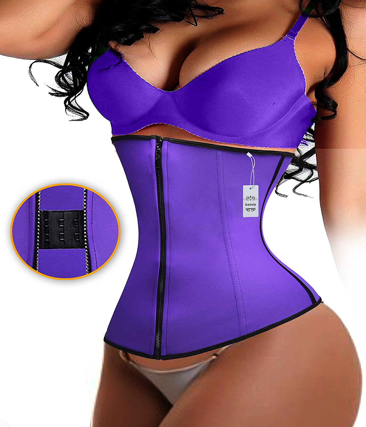 2312c976c7 Gotoly Latex Zipper With Hooks Waist Trainer Fitness Body Shaper For  Hourglass