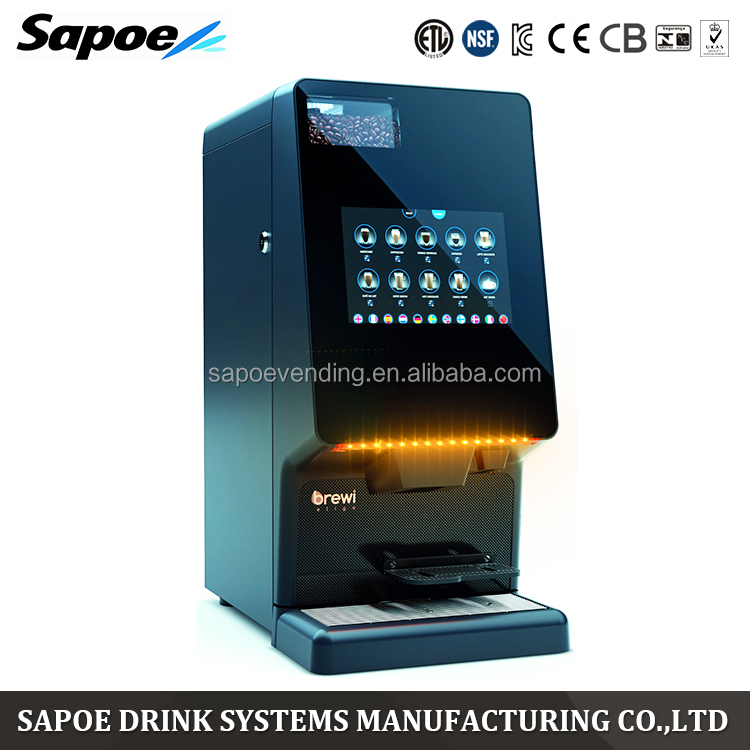 Sapoe remote recipe change tough ABS body dynamic touch screen instant bean to cup commercial automatic coffee maker