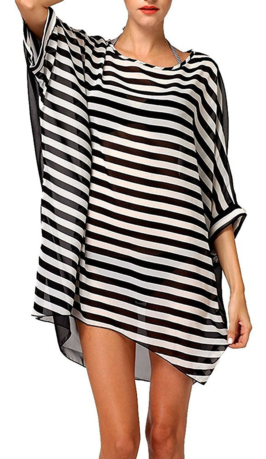 413363dbe5 Womens Striped Bathing Suit Cover Ups Kimono Swimsuit Coverups