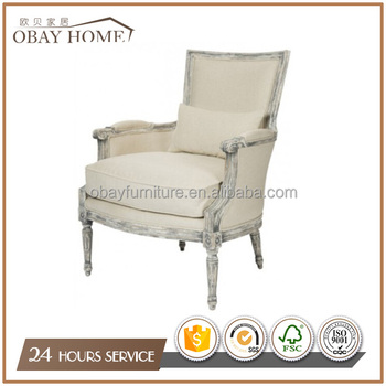 French Chesterfield Armchairs Antique Oak wood chairs Living room furniture