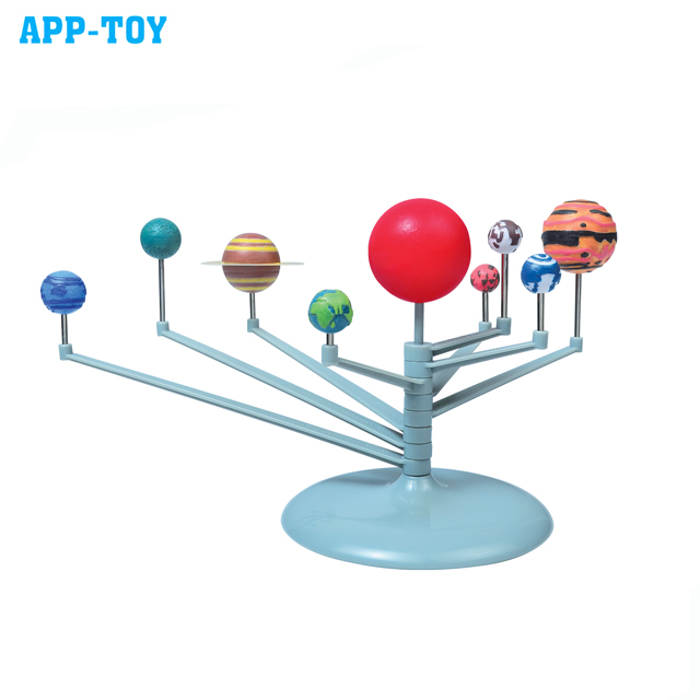 APP-TOY kids educational DIY solar system astronomy planetarium model toy, mini colored plastic planets toy