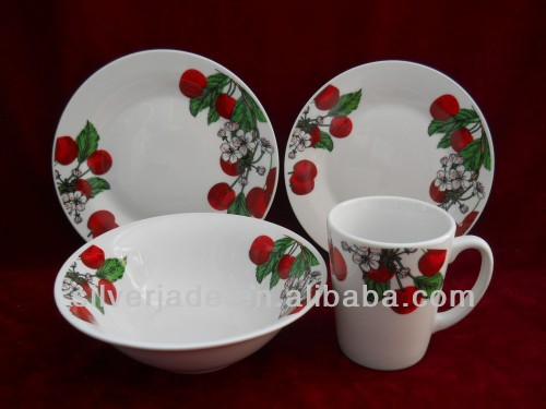 16pcs red fine porcelain dinner set in bulk in shangdong