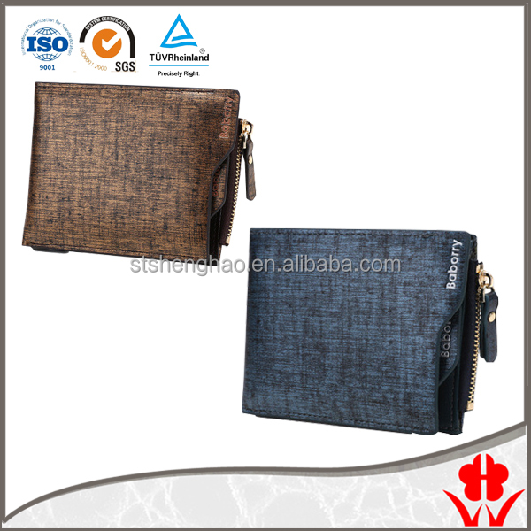 manufacturer gents PU leather zipper new style short men card wallets