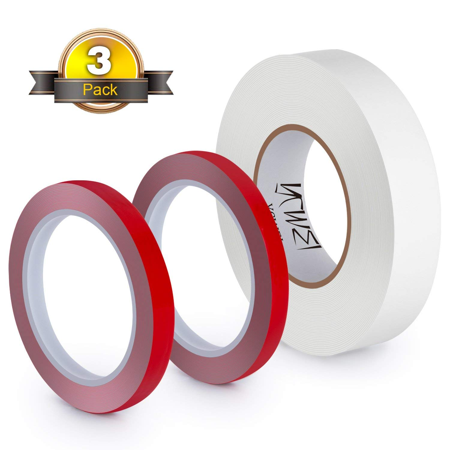 Double Sided Mounting Tape,3 Set Combo Kit-Foam Tape(1.2Inx11 Yd),Gray Clear(0.4 In X 3.25 Yd),1/25 Thickness,Heavy Duty Double-Sided Wall Mount Self Adhesive And Tough Bonding Strength Removable