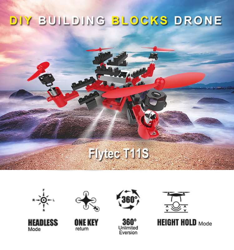 1. T11S_Red_WIFI_FPV_DIY_Building_Blocks_Drone_with_0.3MP_Camera_RC_Drone