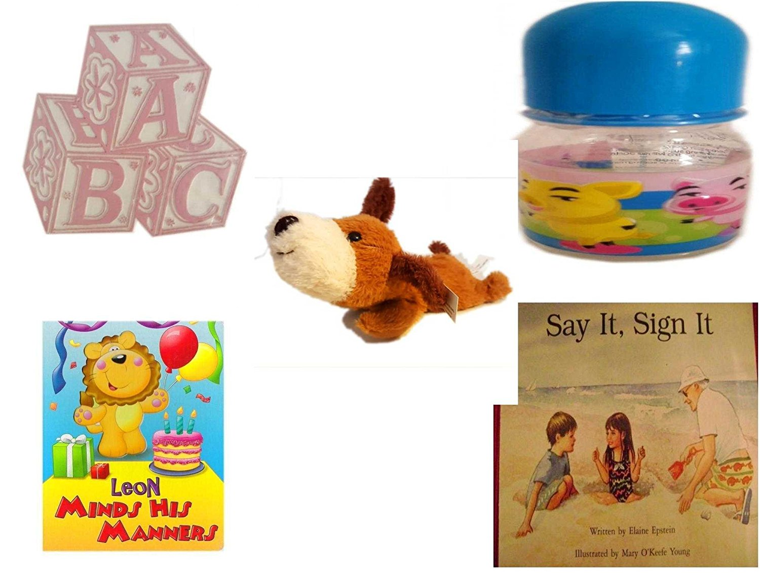 Children's Gift Bundle - Ages 0-2 [5 Piece] - ABC Baby Blocks Cake Topper Pink Girl - ID Gear Baby Bottle Three Pigs 4 oz - Soft n' Cuddly Big Head Puppy - Leon Minds His Manners Board Book - Say It