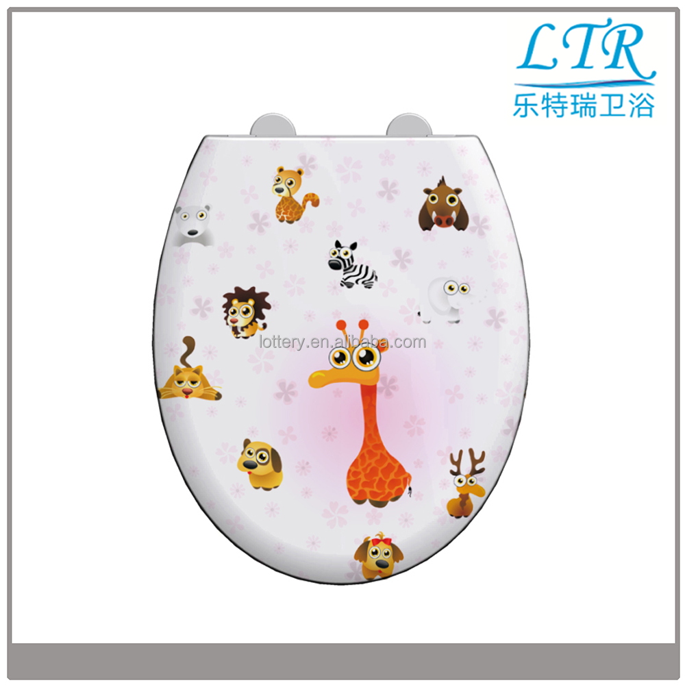 Printed lovely animal copper toilet seats automatic washer