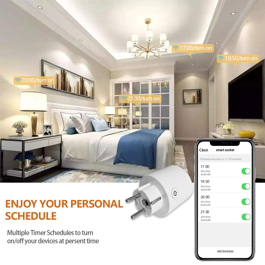 Wholesale 16A Intelligent Wireless Electric Wall Remote Control Alexa Tuya Smart Wifi Eu Timer Sockets Power Energy Meter Plug