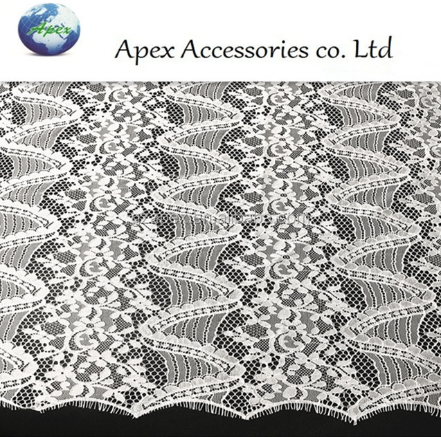Wholesales French Embroidery Bridal Eyelash Lace Fabric For Women Dresses APN7013
