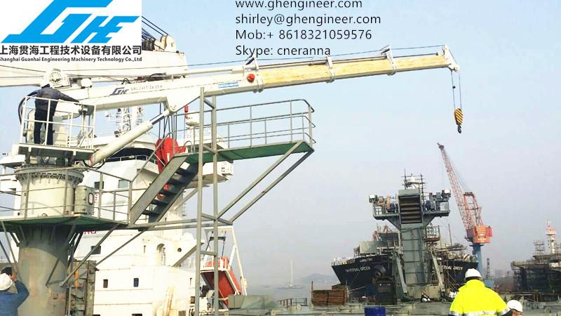 Telescopic Deck Cranes : Hydraulic telescopic boom offshore ship deck marine crane