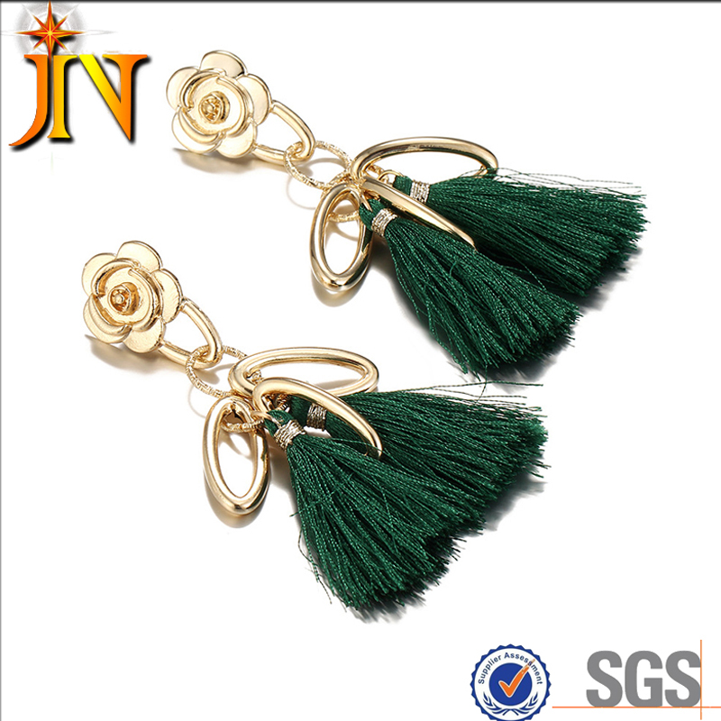 CS00130 JN wholesale new vintage flower gold hoop earrings big round national tassel earrings