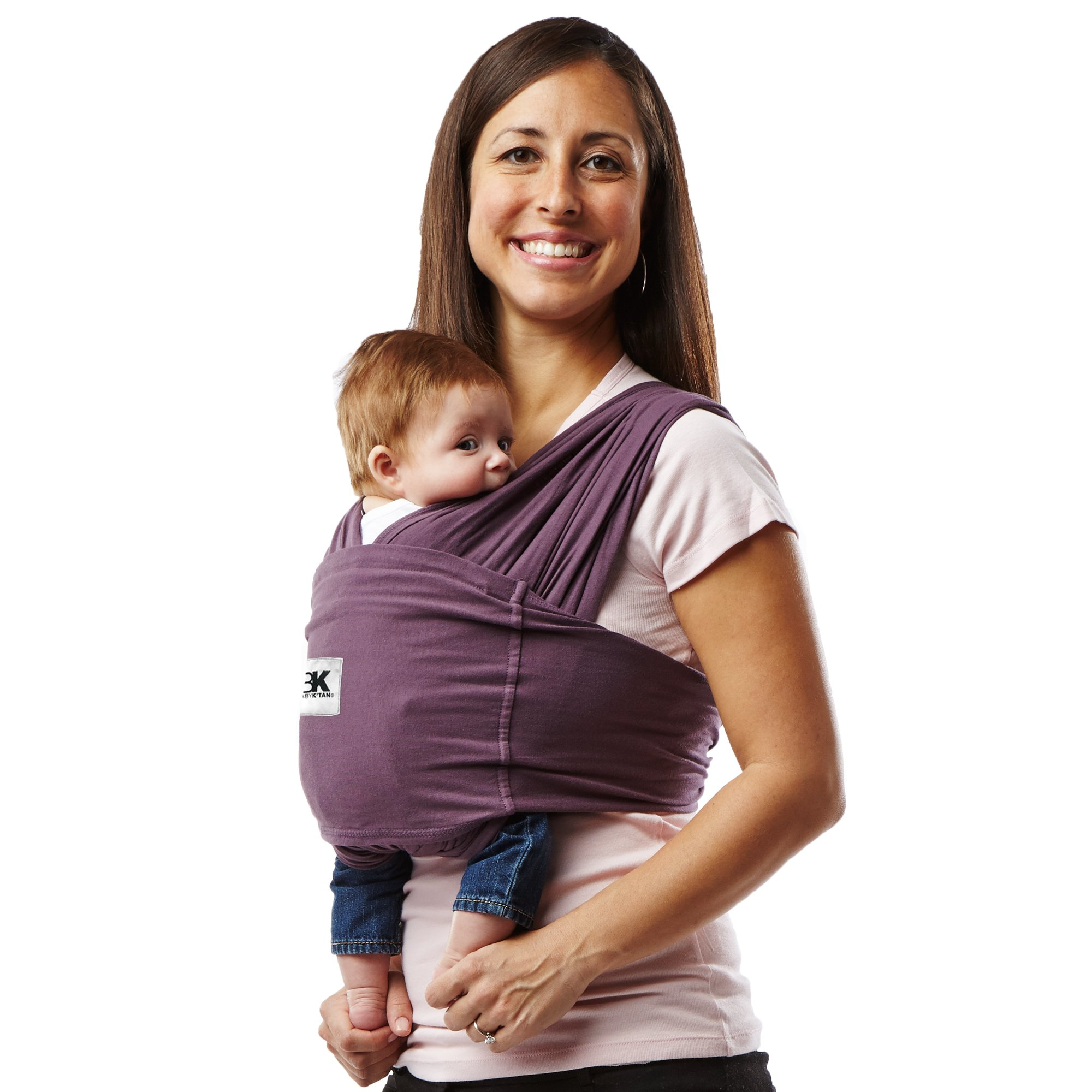 Get Quotations · Baby K tan ORIGINAL Cotton Wrap style Baby Carrier Eggplant Small