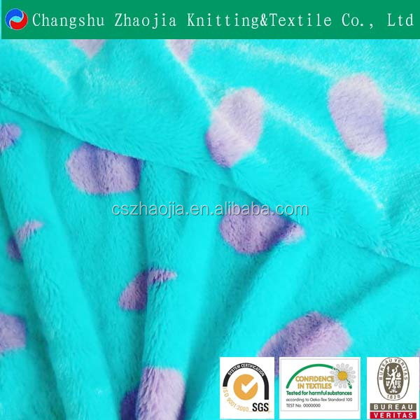 Changshu Zhaojia Knitting factory Wholesale customization pv plush printing soft toys fabric