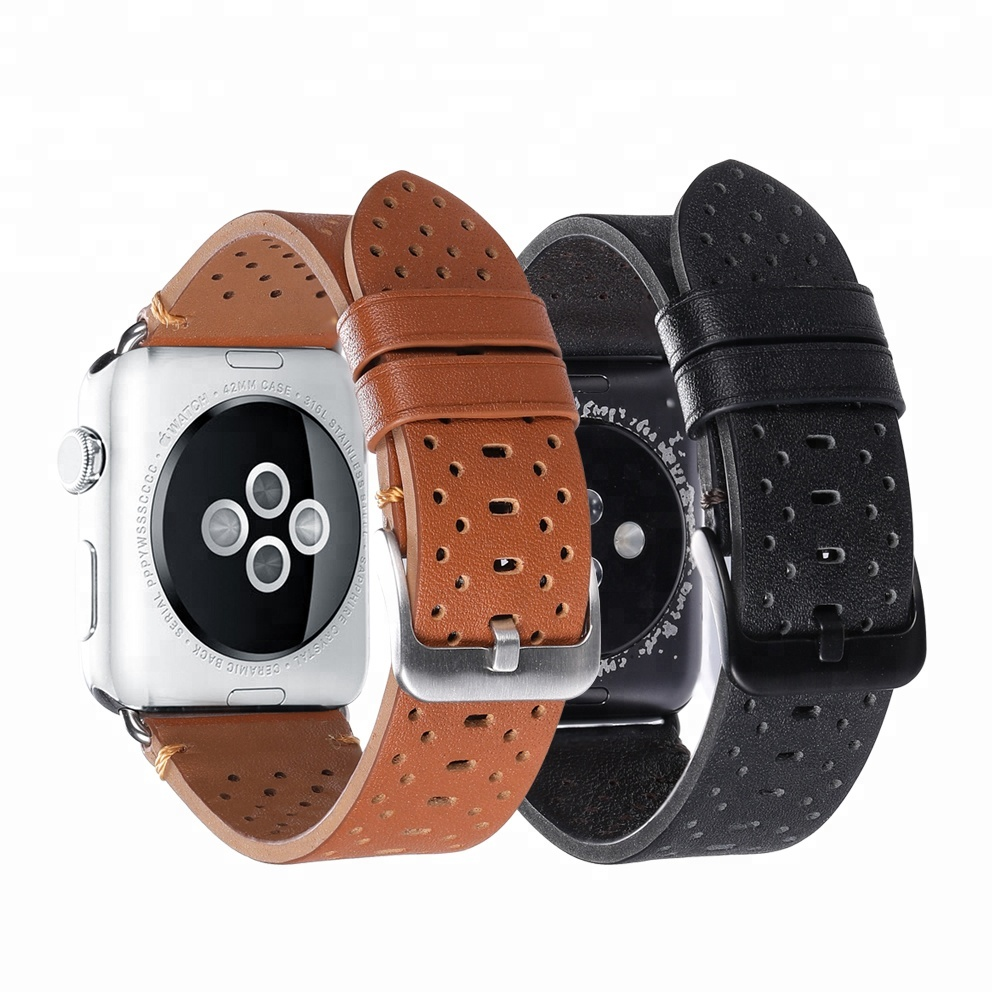 Promotion Wholesale Adapter Wrist Genuine Leather Strap Sport Edition Series 1/2/3/4 for 44mm 42mm 38mm Smart Apple Watch Band, Brown;black